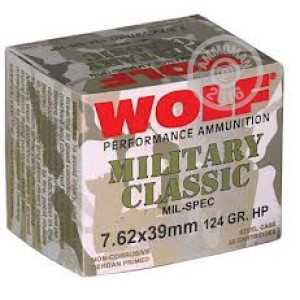 Picture of 7.62X39MM WOLF MILITARY CLASSIC 124 GRAIN JHP (1000 ROUNDS)