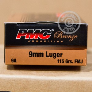 Picture of 9MM LUGER PMC BRONZE 115 GRAIN FMJ (50 ROUNDS)
