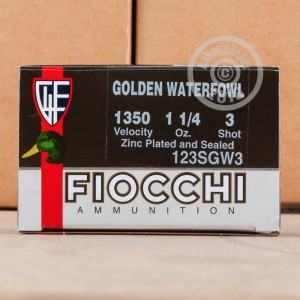 """Picture of 12 GAUGE FIOCCHI GOLDEN WATERFOWL 3"""" 1-1/4 OZ. #3 SHOT (25 ROUNDS)"""