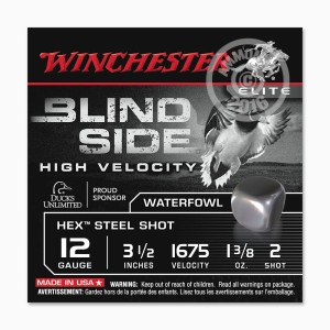 """Picture of 12 GAUGE WINCHESTER BLIND SIDE 3-1/2"""" 1-3/8 OZ. #2 HEX STEEL SHOT (25 ROUNDS)"""