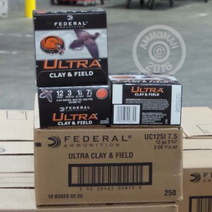 """Picture of 12 GAUGE FEDERAL ULTRA CLAY & FIELD 2 3/4"""" 1-1/8 OZ. #7.5 LEAD SHOT (25 ROUNDS)"""