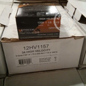 """Picture of 12 GAUGE FIOCCHI HIGH VELOCITY 2-3/4"""" 1-1/5 OZ. #7.5 SHOT (25 ROUNDS)"""