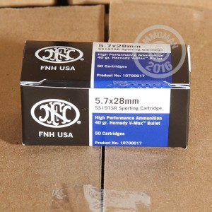 Picture of 5.7X28MM FN HERSTAL 40 GRAIN V-MAX (50 ROUNDS)