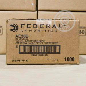 Picture of 38 SPECIAL FEDERAL 158 GRAIN LEAD ROUND NOSE (1000 ROUNDS)