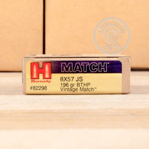 Picture of 8x57MM JS HORNADY VINTAGE MATCH 196 GRAIN HPBT (20 ROUNDS)
