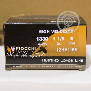 "Picture of 12 GAUGE FIOCCHI HIGH VELOCITY HUNTING 2-3/4"" GRAIN #9 SHOT (25 SHELLS)"