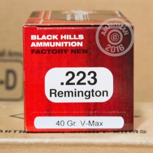 Picture of 223 REMINGTON BLACK HILLS 40 GRAIN V-MAX (50 ROUNDS)