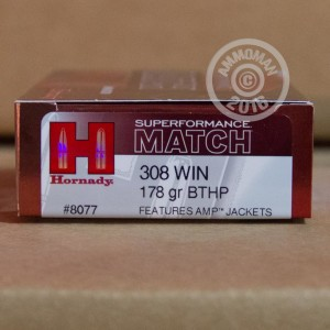 Picture of 308 WINCHESTER HORNADY SUPERFORMANCE MATCH 178 GRAIN BTHP (20 ROUNDS)
