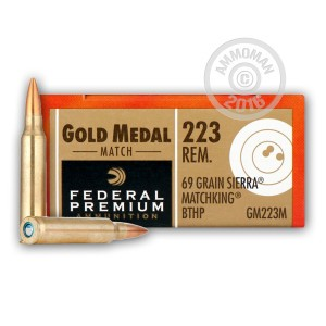 Picture of 223 REMINGTON FEDERAL PREMIUM SIERRA MATCH KING GOLD MEDAL 69 GRAIN BTHP (500 ROUNDS)