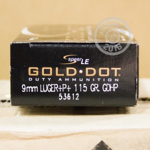 Picture of 9MM LUGER +P+ SPEER GOLD DOT 115 GRAIN JHP (50 ROUNDS)