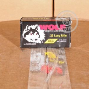 Picture of 22 LR WOLF MATCH TARGET 40 GRAIN LRN (500 ROUNDS)