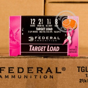 "Picture of 12 GAUGE FEDERAL TOP GUN 2 3/4"" #8 SHOT TARGET LOAD PINK HULL (25 ROUNDS)"