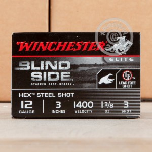 """Picture of 12 GAUGE WINCHESTER BLIND SIDE 3"""" 1-3/8 OZ. #3 HEX STEEL SHOT (25 ROUNDS)"""