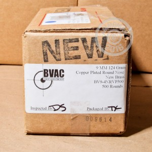 Picture of 9MM 124 GR COPPER PLATED ROUND NOSE BVAC NEW (500 ROUNDS)