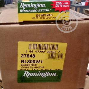 Picture of 300 WIN MAG REMINGTON MANAGED RECOIL 150 GRAIN CORE-LOKT PSP (20 ROUNDS)