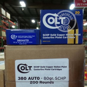 Picture of 380 ACP COLT 80 GRAIN SCHP (20 ROUNDS)