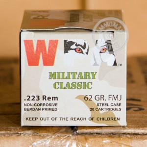 Picture of 223 REMINGTON WOLF WPA 62 GRAIN FMJ (20 ROUNDS)