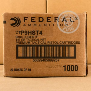 Picture of 9MM LUGER +P FEDERAL PREMIUM LAW ENFORCEMENT 147 GRAIN HST JHP (50 ROUNDS)