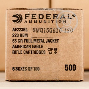 Picture of 223 REMINGTON FEDERAL AMERICAN EAGLE 55 GRAIN FMJ (100 ROUNDS)