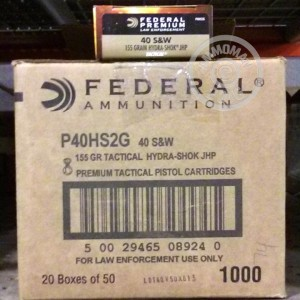Picture of .40 S&W FEDERAL HYDRA-SHOK TACTICAL 155 GRAIN JHP (1000 ROUNDS)