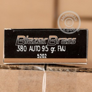 Picture of 380 AUTO BLAZER BRASS 95 GRAIN FULL METAL JACKET #5202 (1000 ROUNDS)