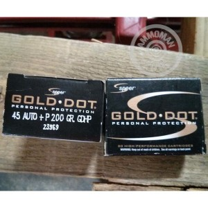 Picture of 45 ACP +P SPEER GOLD DOT 200 GRAIN JHP (20 ROUNDS)