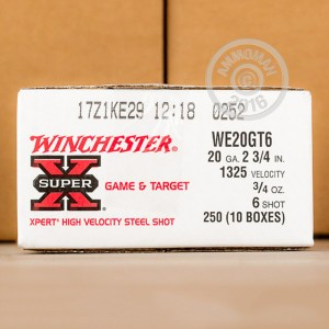 """Picture of 20 GAUGE WINCHESTER SUPER-X XPERT HIGH VELOCITY GAME AND TARGET 2-3/4"""" 3/4 OZ. #6 SHOT (25 ROUNDS)"""