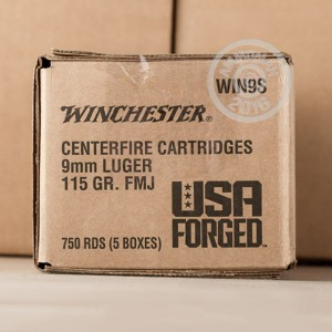 Picture of 9MM LUGER WINCHESTER USA FORGED 115 GRAIN FMJ (150 ROUNDS)