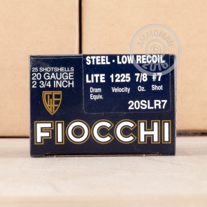 "Picture of 20 GAUGE FIOCCHI LOW RECOIL 2-3/4"" #7 STEEL SHOT (25 ROUNDS)"