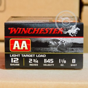 "Picture of 12 GAUGE WINCHESTER AA LIGHT TARGET 2-3/4"" GRAIN #8 SHOT (250 ROUNDS)"