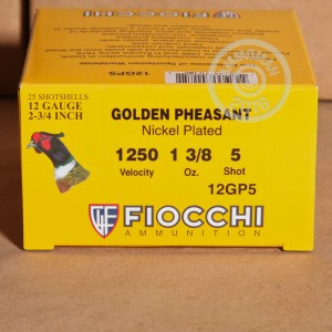 "Picture of 12 GAUGE FIOCCHI GOLDEN PHEASANT 2-3/4"" #5 NICKEL-PLATED LEAD SHOT (25 ROUNDS)"