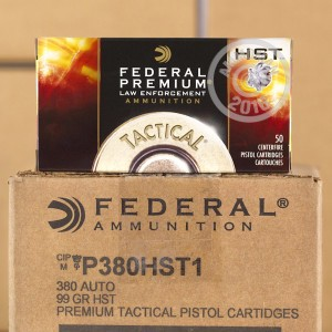 Picture of 380 ACP FEDERAL TACTICAL 99 GRAIN HST JHP (1000 ROUNDS)