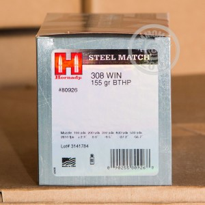 Picture of 308 HORNADY STEEL MATCH 155 GRAIN BTHP 50 ROUNDS