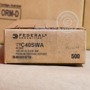 Picture of 40 S&W FEDERAL PERSONAL DEFENSE 180 GRAIN JHP (500 ROUNDS)