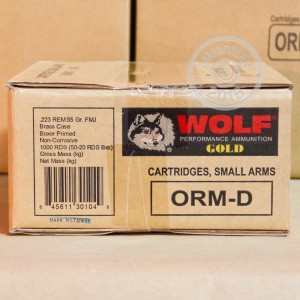 Picture of .223 REM WOLF GOLD 55 GRAIN FMJ (20 ROUNDS)