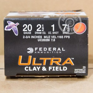 "Picture of 20 GAUGE FEDERAL ULTRA HEAVY FIELD & CLAY 2-3/4"" GRAIN #7.5 SHOT (25 ROUNDS)"