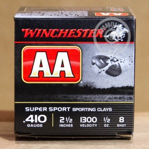 """Picture of 410 BORE WINCHESTER AA SPORTING CLAYS 2-1/2"""" 1/2 OZ. #8 SHOT (25 ROUNDS)"""