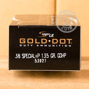 Picture of 38 SPECIAL +P SPEER GOLD DOT 135 GRAIN JHP (50 ROUNDS)