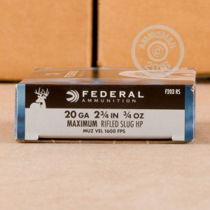 "Picture of 20 GAUGE FEDERAL POWER-SHOK 2-3/4"" HP RIFLED SLUG (5 ROUNDS)"