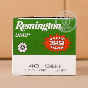 Picture of .40 S&W REMINGTON UMC 180 GRAIN JHP (100 ROUNDS)
