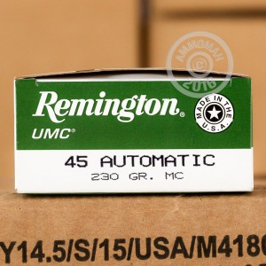 Picture of 45 ACP REMINGTON UMC 230 GRAIN MC (50 ROUNDS)