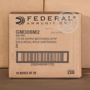 Picture of 308 WIN FEDERAL GOLD MEDAL 175 GRAIN SIERRA MATCH KING HP-BT (20 ROUNDS)