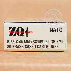 Picture of 5.56x45mm ZQI 62 GRAIN FMJ SS109 (300 ROUNDS)