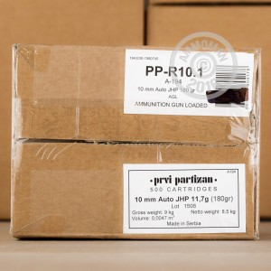 Picture of 10MM AUTO PRVI PARTIZAN 180 GRAIN JACKETED HOLLOW POINT (500 ROUNDS)