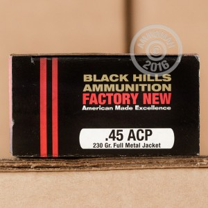Picture of 45 ACP BLACK HILLS 230 GRAIN FMJ (20 ROUNDS)