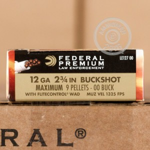 """Picture of 12 GAUGE 2-3/4"""" 00 BUCK 9 PELLETS FEDERAL LE TACTICAL W/ FLITECONTROL (5 ROUNDS)"""