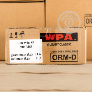 Picture of 308 WIN WOLF WPA MILITARY CLASSIC 140 GRAIN SOFT POINT (20 ROUNDS)