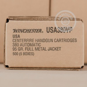 Picture of 380 ACP WINCHESTER 95 GRAIN FMJ (100 ROUNDS)