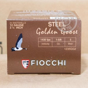 "Picture of 12 GAUGE FIOCCHI GOLDEN GOOSE 3-1/2"" 1-5/8 OZ. #2 STEEL SHOT (25 ROUNDS)"