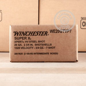 """Picture of 20 GAUGE WINCHESTER SUPER-X XPERT HIGH VELOCITY 2-3/4"""" 3/4 OZ. #7 STEEL SHOT (100 ROUNDS)"""